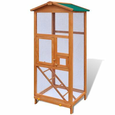 vidaXL Bird Cage Flying Animal Aviary Shelter Parrot House Feeder Wood Brown