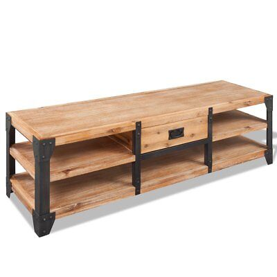 vidaXL TV Stand Storage Cabinet Display Unit Home with Drawer Solid Acacia Wood