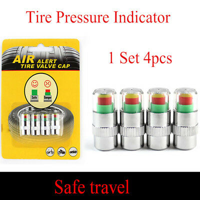 4Pcs/Set Tire Pressure Detecting Caps Visible Car Alarm Monitor Indicator New