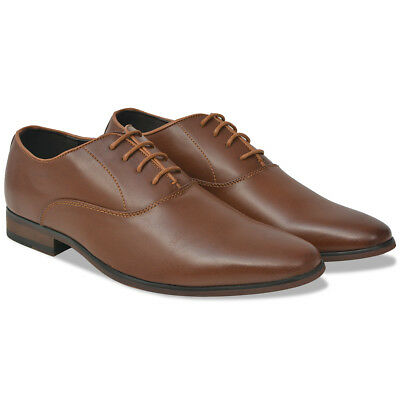 vidaXL Men's Business Shoes Formal Footwear Lace-Up Brown Size 40 PU Leather