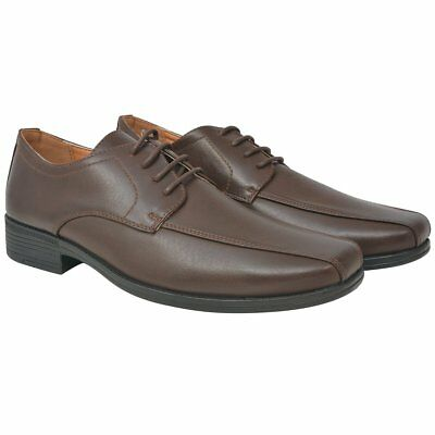 vidaXL Men's Business Shoes Formal Footwear Lace-Up Brown Size 41 PU Leather