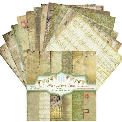 """24pcs 6"""" Background Paper with Single Side Pattern For DIY Album Scrapbook Cards"""