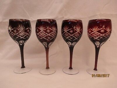 Vintage:High quality Bohemian set of 4 hand cut  dark cranberry crystal goblets