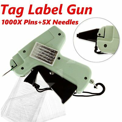 Tagging Gun Set 5 Steel Needle 1000 Kimble Tag Label Barbs For Clothes Sock Hat