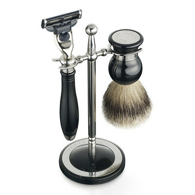 NEW Dalvey Classic Black Shaving Set & Stand
