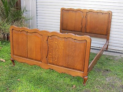 Vintage French Carved Oak Double Bed