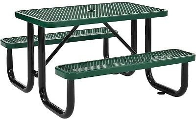 48' Rectangular Expanded Metal Picnic Table Green