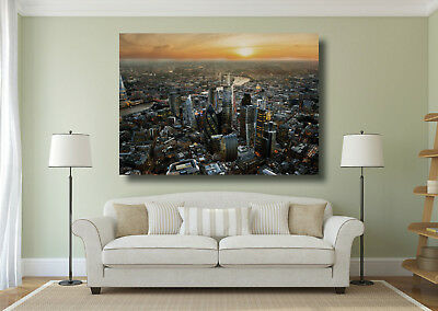 City of London Aerial View at Dusk Large Poster Wall Art Print - A0 A1 A2 A3 A4
