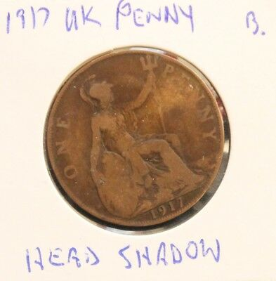 1917 UK George V Penny coin