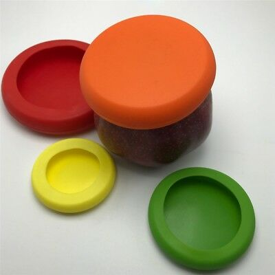 4Pcs Silicone Stretch Lid Pot Cans Dish Wraps Covers Keep Food Fresh Set