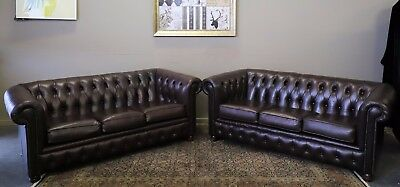 Absolutely Stuuning Pair Of 3 Seat Chesterfield Sofa Couch Lounge Suite