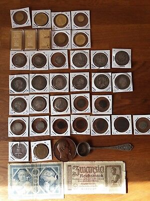 coins collection, banknotes , gold bars, vintage spoon