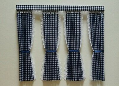 Dolls House Curtains Navy Blue Gingham Inside Bay