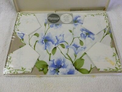Vtg Retro Dunroy Rayon Blue Floral Tablecloth & 4 Napkins-Made In Ireland*New