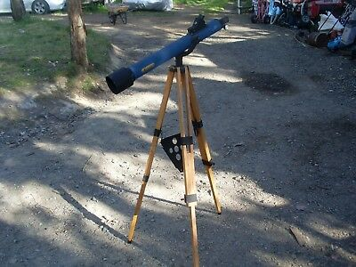 vintage near veteran antique collectable telescope with wooden timber  stand old