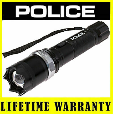 POLICE Stun Gun Metal A2 58 Billion Max Voltage Rechargeable LED Flashlight
