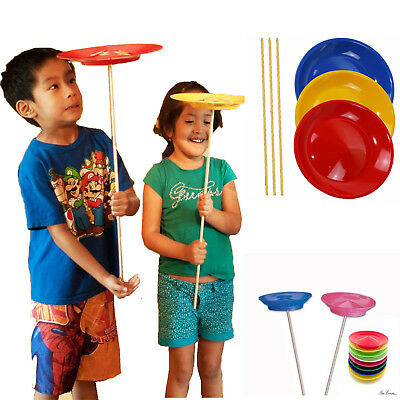 Kids 3 Spinning Plates Circus Set Of Magic Tricks Beginner Skill Party Toy Xmas
