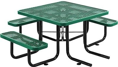 46' Wheelchair Accessible Square Expanded Metal Picnic Table, Green