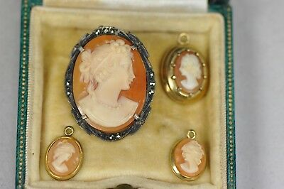 Antique Cameo Collection (x5) 9ct Gold Filigree + 925 Silver (Job Lot)