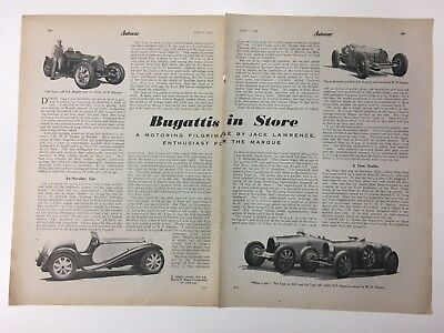 RARE BUGATTI 1945 2 Page Original B&W Vintage Car Advert / Article L1