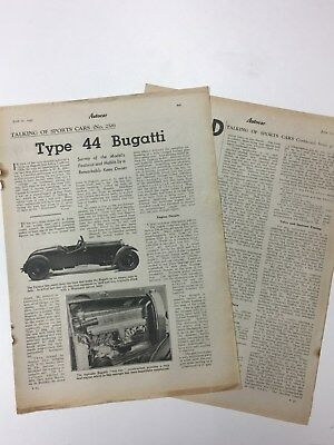 RARE BUGATTI Type 44 1945 2 Page Original B&W Vintage Car Advert / Article L2