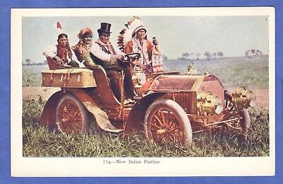 New Indian Pastime: Driving A Touring Automobile Native Americana Postcard 1900s