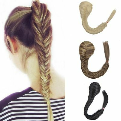 Long en Fishbone clip dans le cordon tresse cheveux queue de cheval extensions