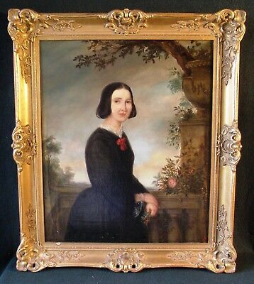 Portrait of a Lady, Classical British 19thC Signed Fine Antique Oil Painting