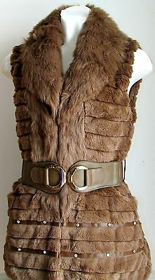 Ladies Vest Mink Imitation with Belt Made in Italy