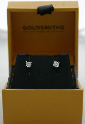 9ct White Gold 0.33ct 4 Claw Canadian Certificate Diamond Earrings RRP £900