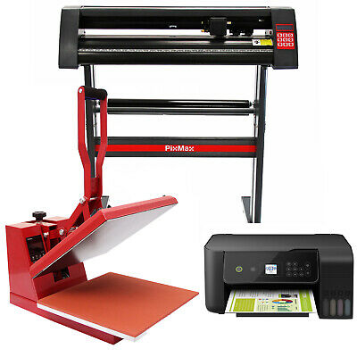 Heat Press Clam 38 x 38cm, Vinyl Cutter & Printer Sublimation Transfer Bundle