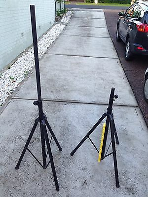 Pair of Black Steel Collapsible Speaker Stands