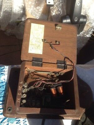 Vintage Antique Electric Telephone Wooden Rare