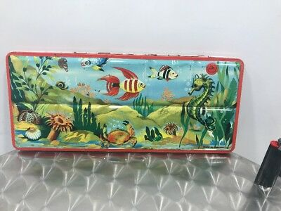 Water Color Paint tin box Scatola Acquarelli vintage Tropical Fish