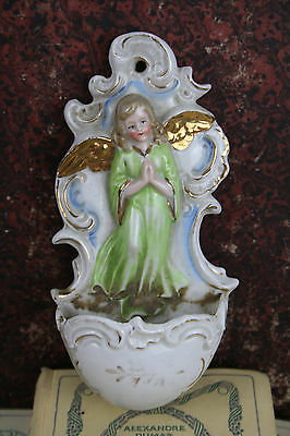 Antique Porcelain Holy water font Putti angel marked