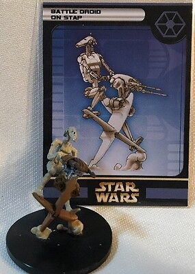 Star Wars Miniatures Clone Strike Battle Droid on STAP 32/60 MINT With Card