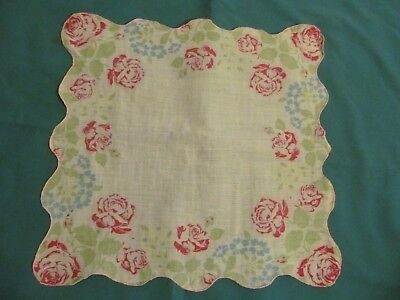 """Vintage Handkerchief  - White with red/pink roses / floral     13"""""""