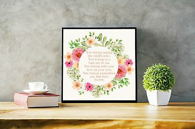 Tom Petty Wildflowers Floral Quote 8x8 Photo Print