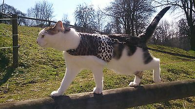 Mynwood Cat Walking Jacket Harness Holster GREY LEOPARD FUR Adult cat or Kitten