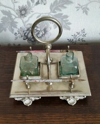 A Victorian Silver Plated Inkwell Stand by Thomas Wilkinson