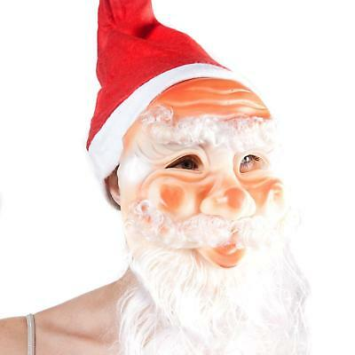 Santa Face Mask With Hat And Beard Father Christmas Party Fancy Dress Up
