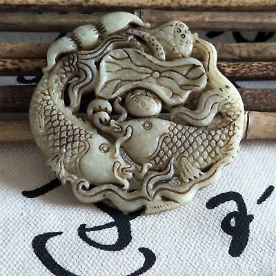 Hot Chinese Old Jade Hand Carved natural Hollow Lotus leaf & Fish Jade tablets n