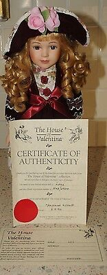 Vintage House of Valentina porcelain doll Lucy with certificate -  new condition
