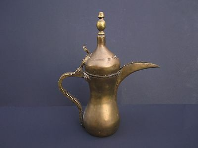 Antique Turkish Arabic Middle Eastern Islamic Dallah Brass Coffee Tea Pot Signed