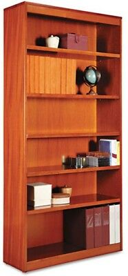 Alera ALEBCS67236MC Square Corner Wood Veneer Bookcase, 6-Shelf, 35 Cherry