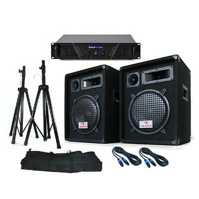 """Soundsaver Pa System 10"""" Inch Dj Equipment Diso Speakers Amplifier Stands 640W"""