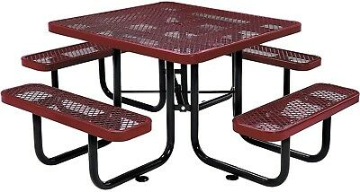 46' Square Expanded Metal Picnic Table Red