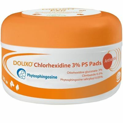 Douxo Chlorhexidine 3% PS Pads (30 Pads) for Dogs and Cats Antiseptic Cleansing