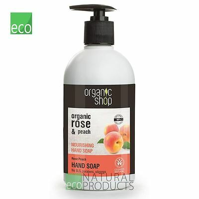 Organic Shop Nourishing Hand Soap Organic Rose & Peach 500ml