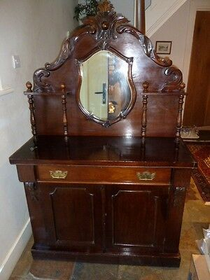 Victorian Antique Mahogany Chiffonier / Sideboard With Mirrored Back.